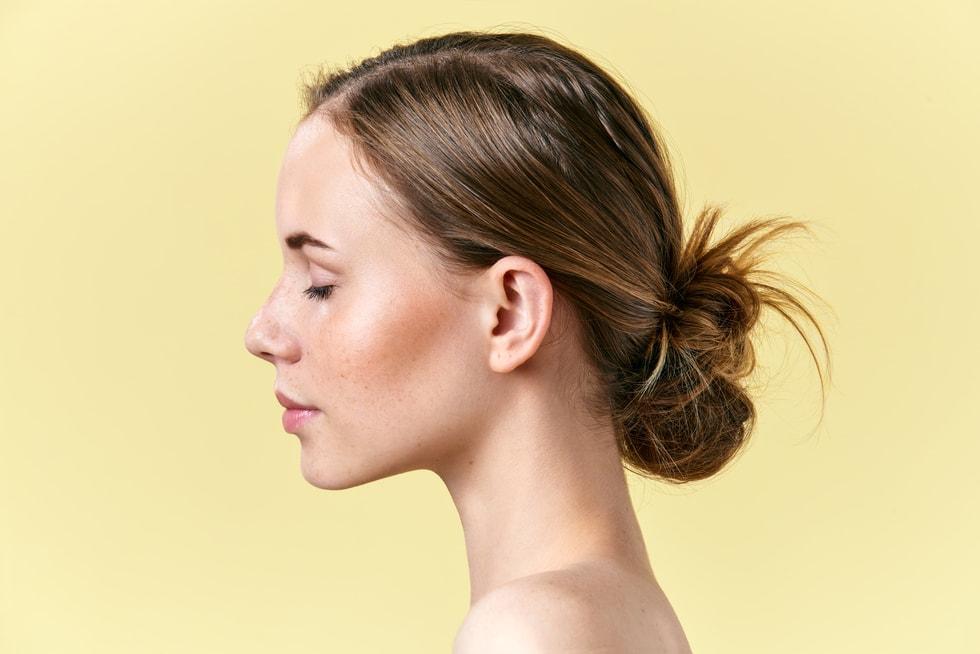 Side profile of women's head